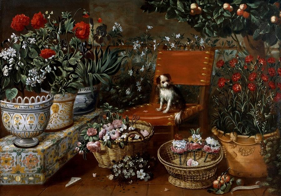 patio ajardinado y banco con azulejos de cerámica sobre el que aparecen grandes macetas, diferentes entre sí, con una bella decoración también de cerámica multicolor. Plantas, flores y frutos