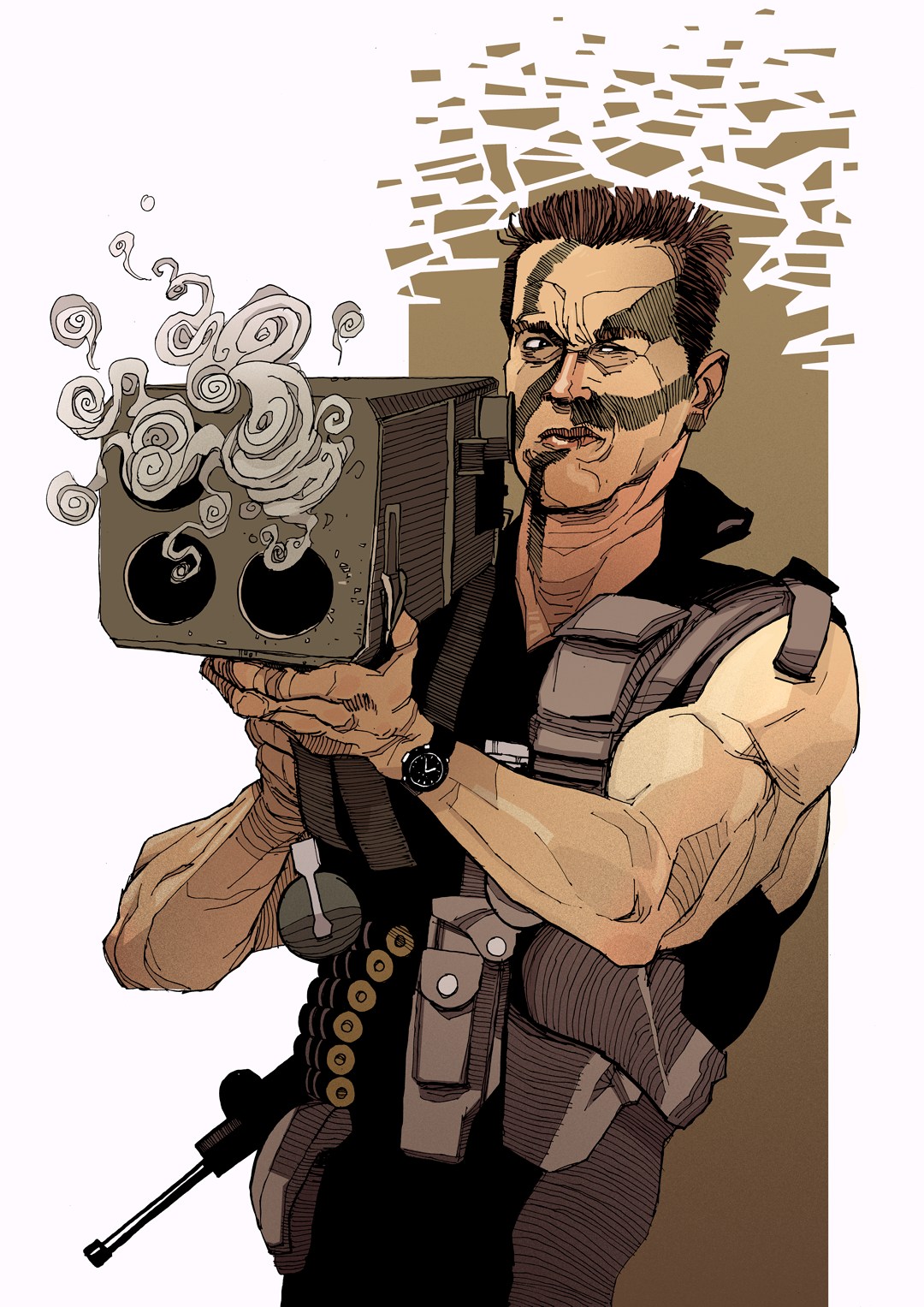 Commando Arnold Schwarzenegger Rocket Launcher Drawing