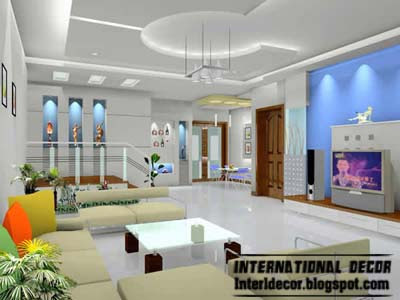 Wonderful Modern False Ceiling Interior Design For Living Room, Unique False Ceilings
