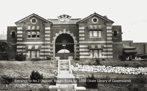 Main gates of No.2 Division, Boggo Road Gaol, Brisbane, c.1936.