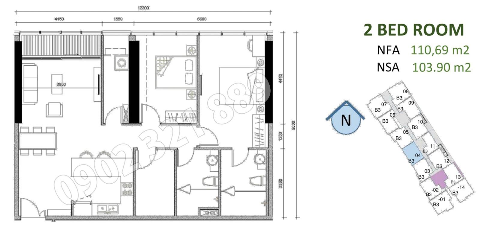 mặt bằng căn hộ sunwah pearl 2 phòng ngủ B3-04