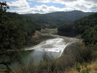 Water trickling into the Guadalupe Reservoir, Almaden, California
