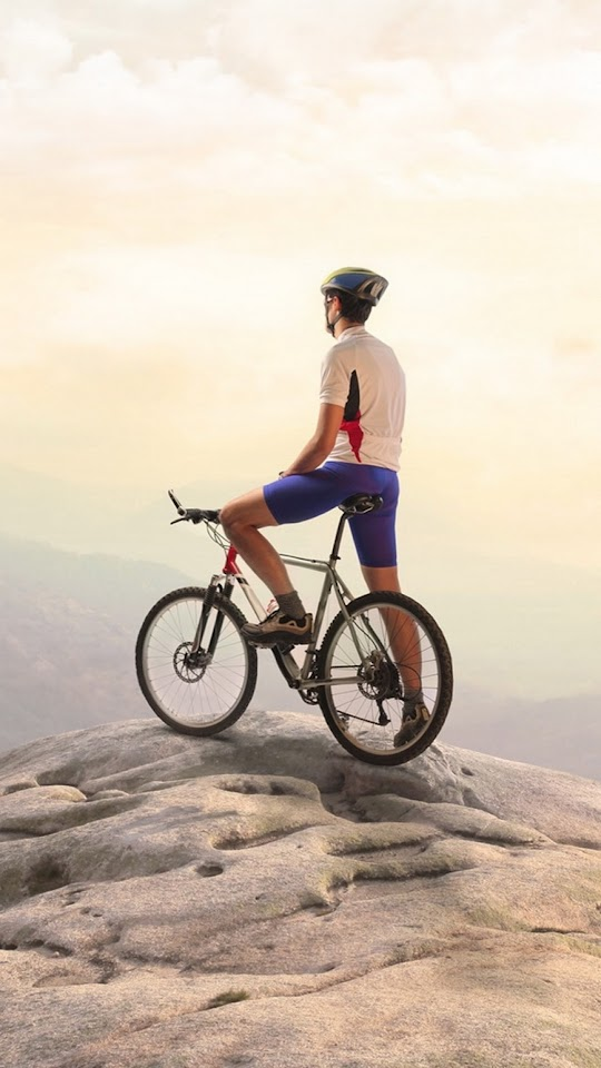 Bike Rider Top Mountain  Galaxy Note HD Wallpaper