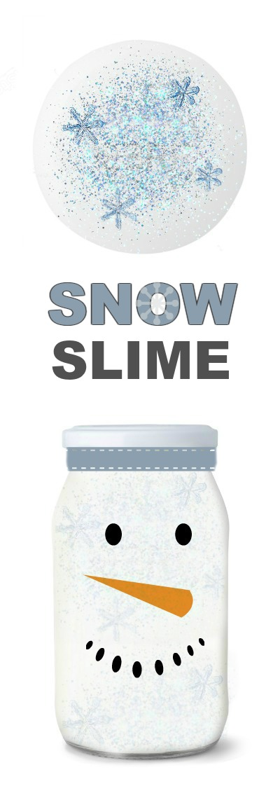 SNOWMAN SLIME- icy-cold slime for kids using just 2 ingredients!  A must try! #snowslime #slimerecipes #wintercraftsforkids