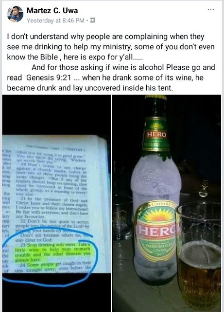 IMG 20180114 083428 714 - Nigerian Facebook user posts Bible verse and bottle of beer to justify his drinking