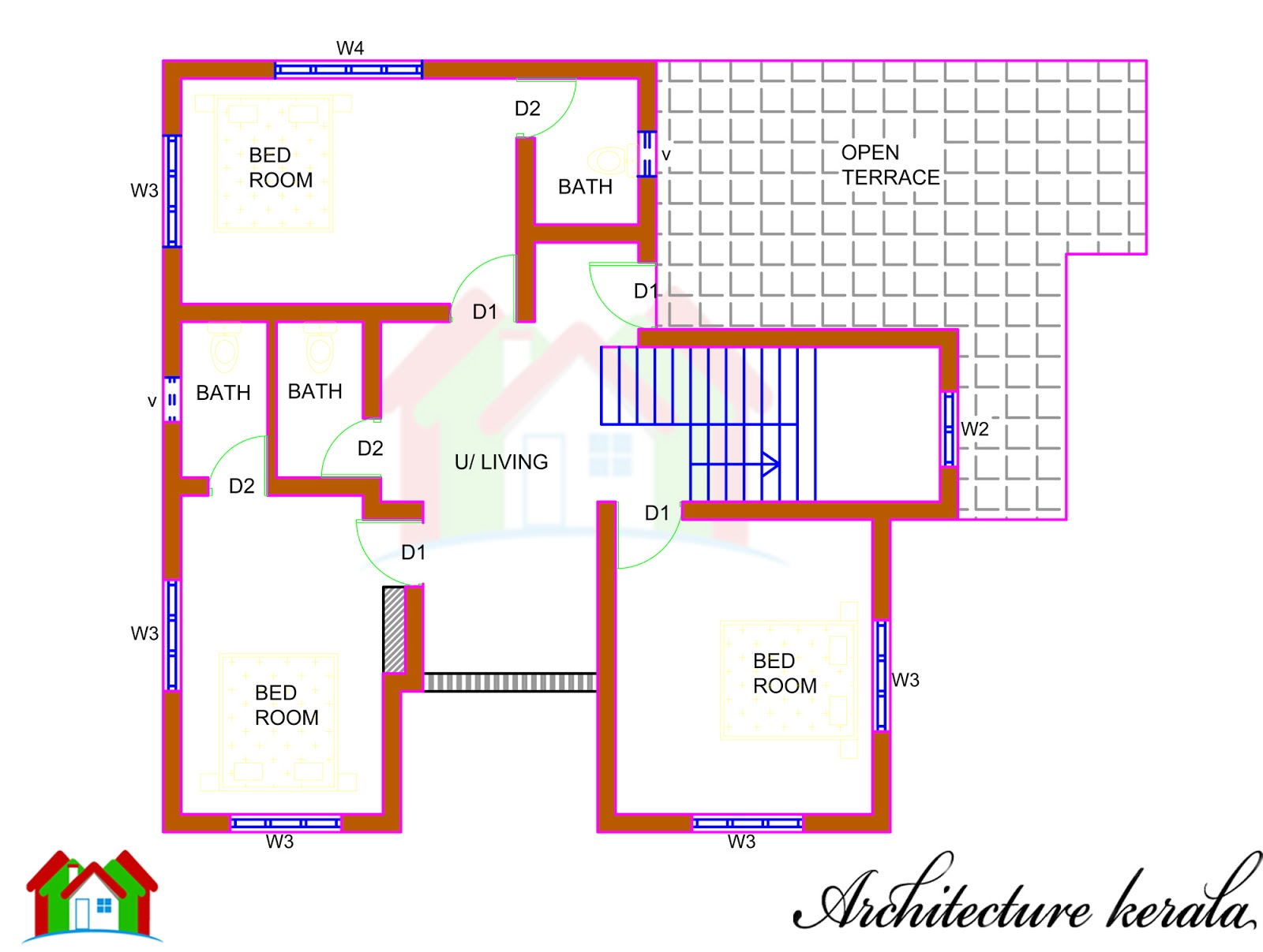 Architecture kerala 5 bedroom house plan and its for Kerala house plan drawing and design