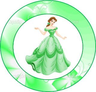 Belle in Green  Toppers or Free Printables Labels.