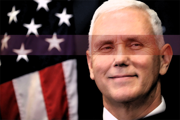 image of Mike Pence in front of a U.S. flag, smiling, but his eyes are highlighted to show that they are not