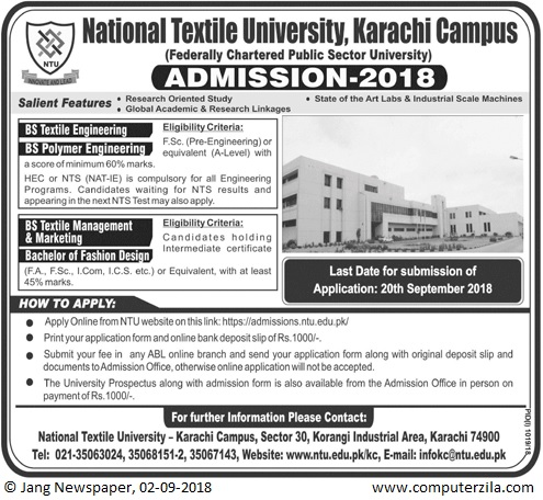 Admissions Open For Fall 2018 At NTU Karachi Campus