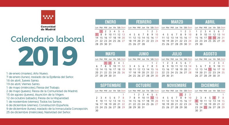 Calendario Escolar Madrid 2020 2019.Calendario Laboral 2019 De La Comunidad De Madrid Con 12 2 Dias