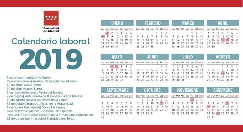 Calendario laboral 2019 de la comunidad de madrid con 12 2 for Calendario eventos madrid