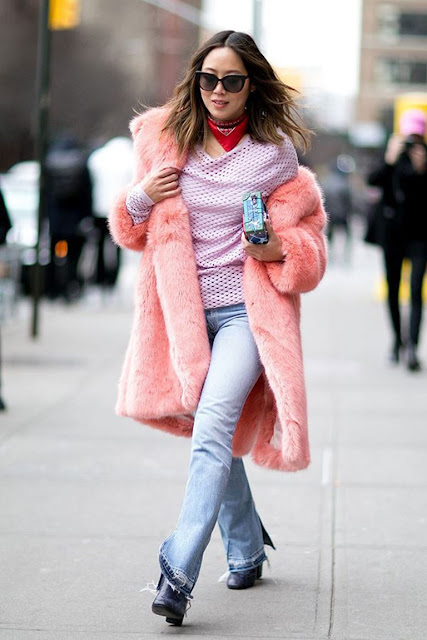 pink furry coat street style