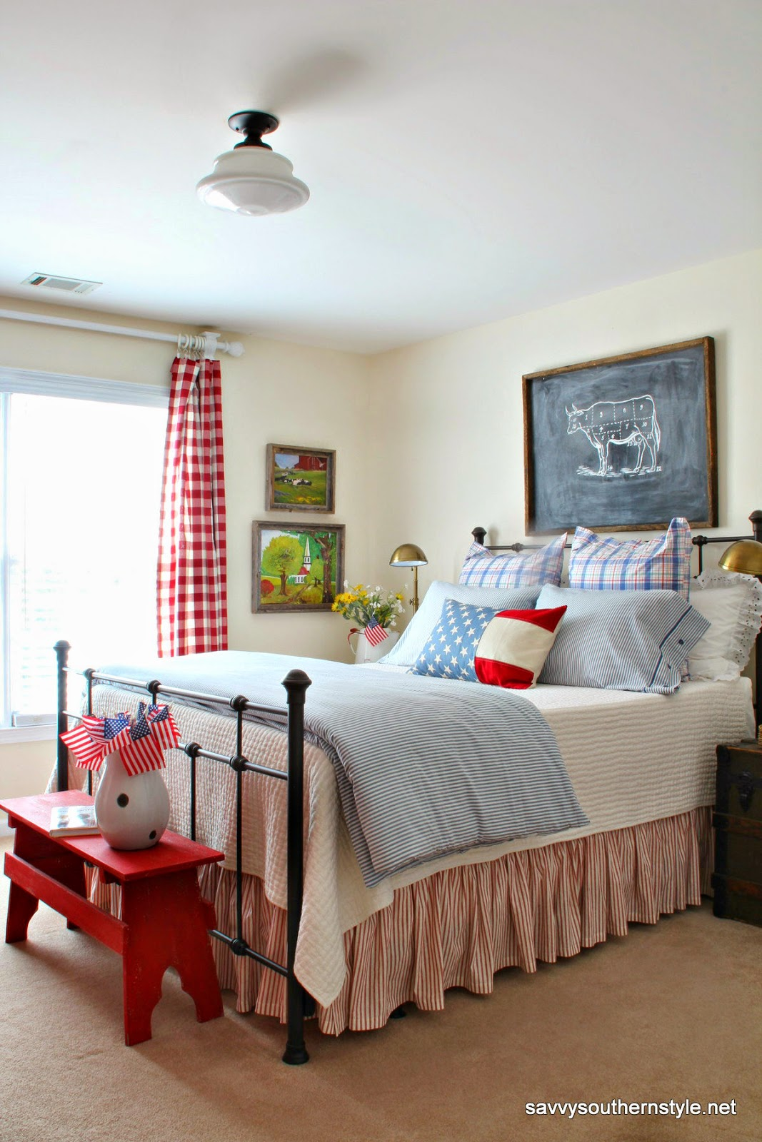 Savvy southern style remembering red white and blue for How to decorate a red bedroom