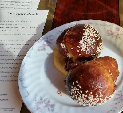 Parker house rolls stuffed with pork at Odd Duck