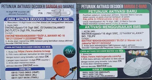 Aktivasi Receiver Matrix Garuda ku Orange