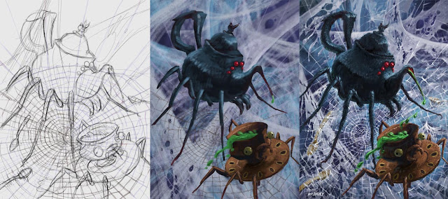 spider monster tea set WIP painting