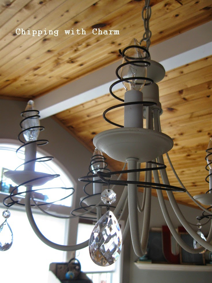 "Chipping with Charm:  Springs for Chandelier ""Shades""...http://www.chippingwithcharm.blogspot.com/"