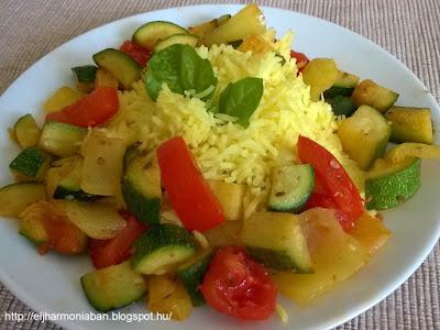 cukkini, paradicsom, paprika, recept, nyári recept, cukkinis étel, vegetáriánus, vegán, egészséges