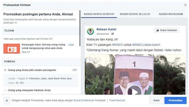 Ada Facebook Ads Dibalik Kemenangan Ridwan Kamil