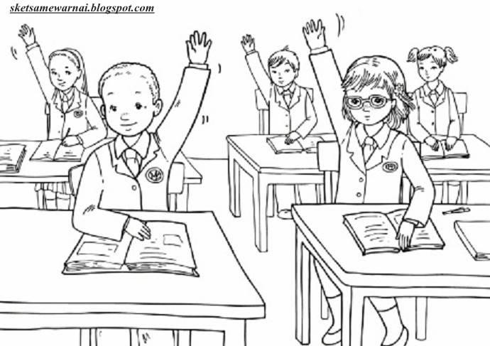 Sketsa Mewarnai Gambar Aktifitas Anak Sekolah Sketsa Mewarnai