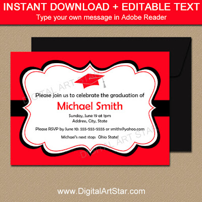 editable graduation party invitations instant download in red and black