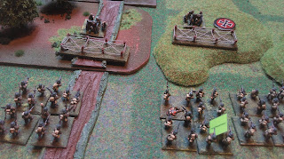 German field guns face off against British infantry
