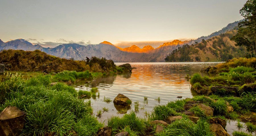 Lake Segara Anak altitude 2000 m of Mount Rinjani