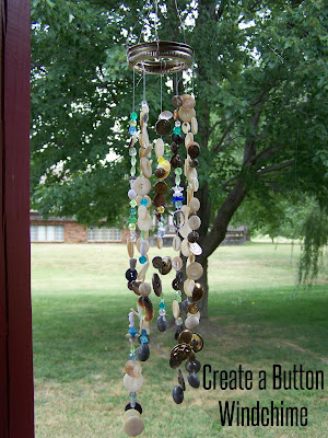 Creating a button wind chime is a charming way to use old buttons.  If you like to sew or if you are a pack-rat, you probably have an assortment of salvaged buttons just waiting for a project like this.  Making a button wind chime is easy and fun using items that you already have!