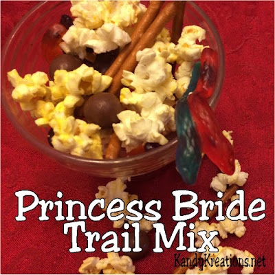 Enjoy watching the Princess Bride movie with this yummy trail mix. You'll find all kinds of sweet treats like Shrieking Eels, Inigo's swords, Fire Spurts, and more to choose from while watching the perfect movie and quoting your favorite lines.