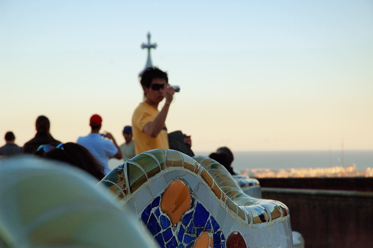Mosaic serpentine benches using trencadis technique in Park Guell by Gaudi