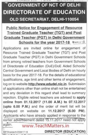 image : EDUDEL Delhi Resource (PGT-TGT) Teacher Recruitment 2017-18 @ TeachMatters