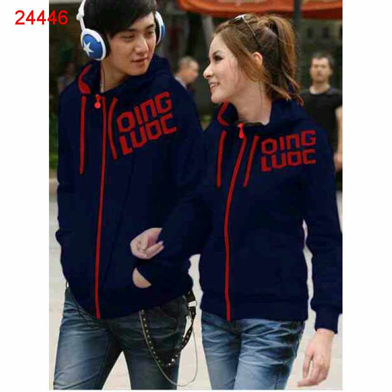 Jual Jacket Couple Jaket Qing Navy Berry - 24446