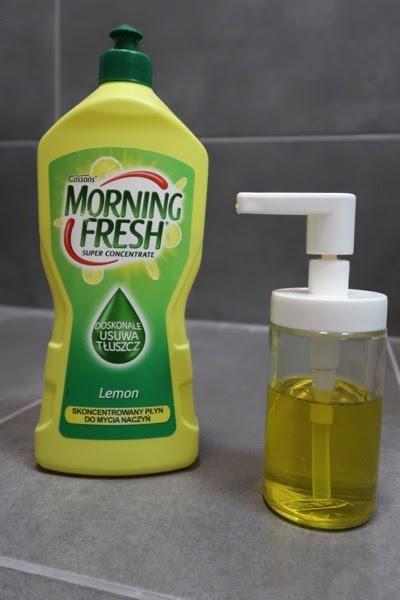 żółto zielona butelka, morning fresh, pojemniczek z pompką