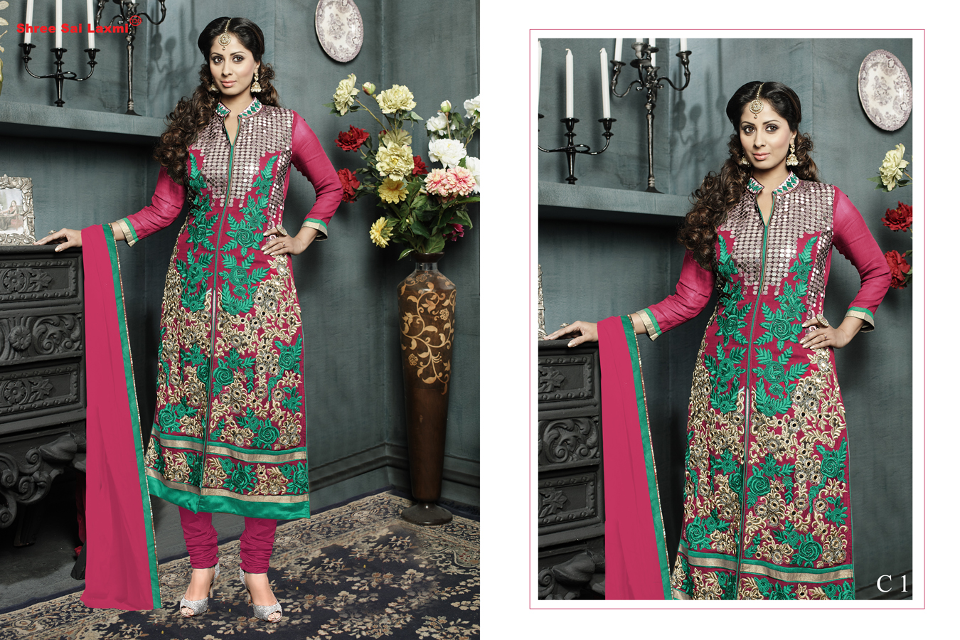 ROZA-Stylish Faux Georgette Fabric With Embroidery Work with Mirror Work Salwar Suit