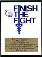 Relay for Life plaque