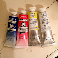 A close-up of the oil paints.