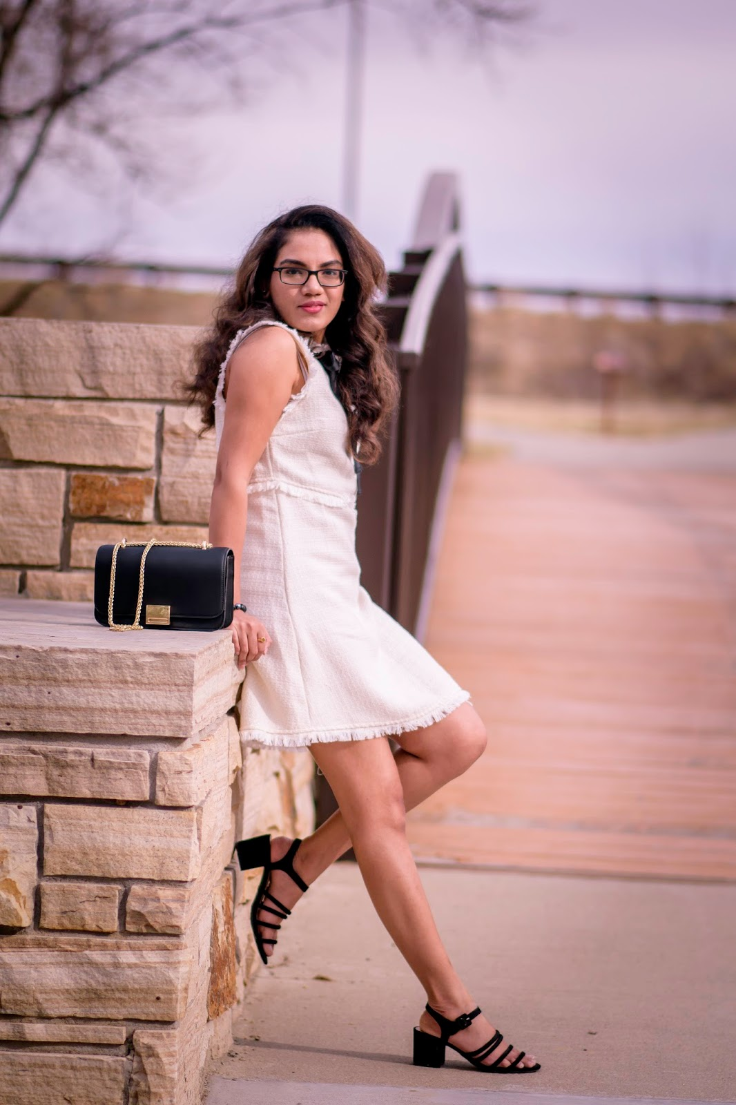 Chanel Style Tweed Dress; Tweed; Aim for Glam; Prasanthi Kadiyala; Zara; DSW; South Indian Fashion Blogger; Telugu girl; Telugu Blogger;