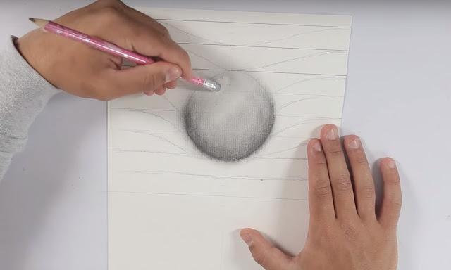 dibujo, esfera, lapiz, borrador, sombras, brillo