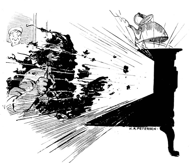 H.R. Petersen 1913 magazine illustration exploding lunch