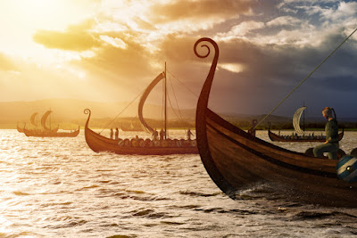 Viking ships sailing to conquer