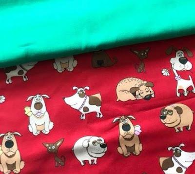 Hundestoff in rot für die Schultüte