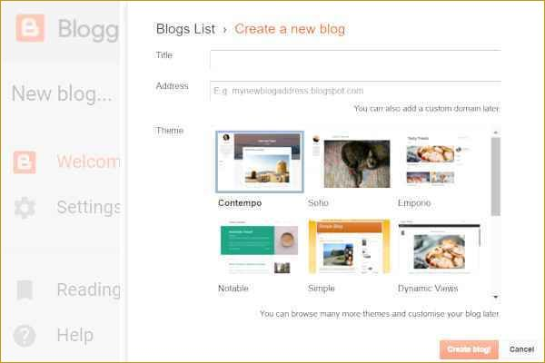 First window when you start a blog on Blogger