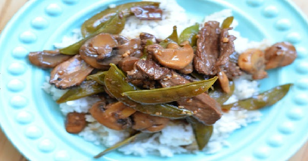 Asian Beef Stir-Fry With Mushrooms And Snow Peas Recipe