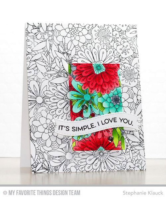 Handmade card from Stephanie Klauck featuring Essential Sentiments stamp set, Bundles of Blossoms Background stamp and Blueprints 25 Die-namics #mftstamps
