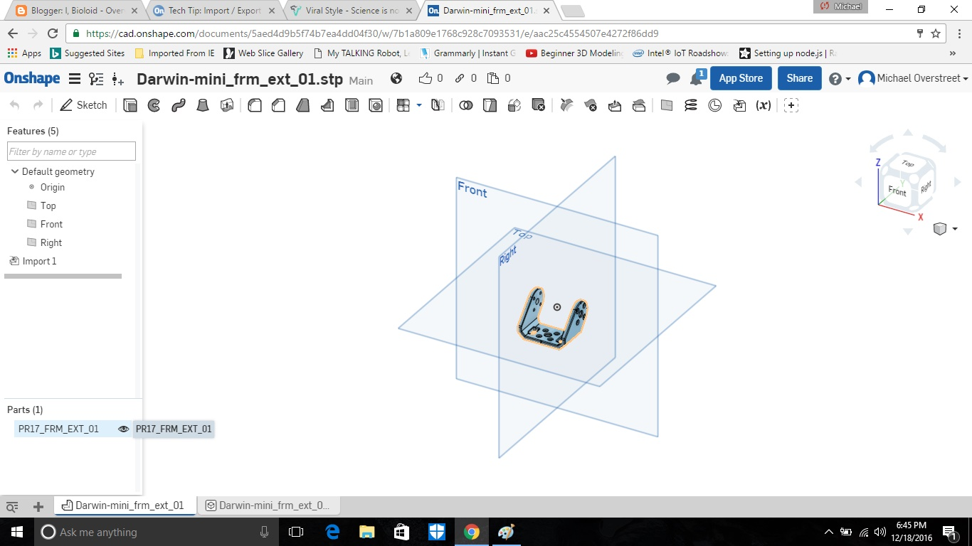 I Bioloid Create Stl Files For 3d Printing Using Onshape