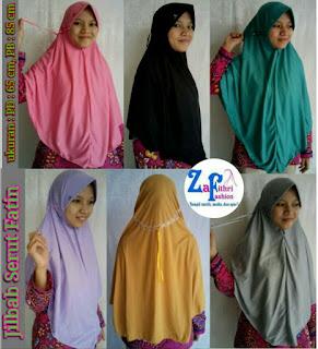 jilbab fatin serut bahan kaos murah
