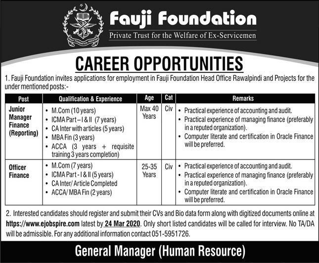 Fauji Foundation Rawalpindi Jobs March 2020