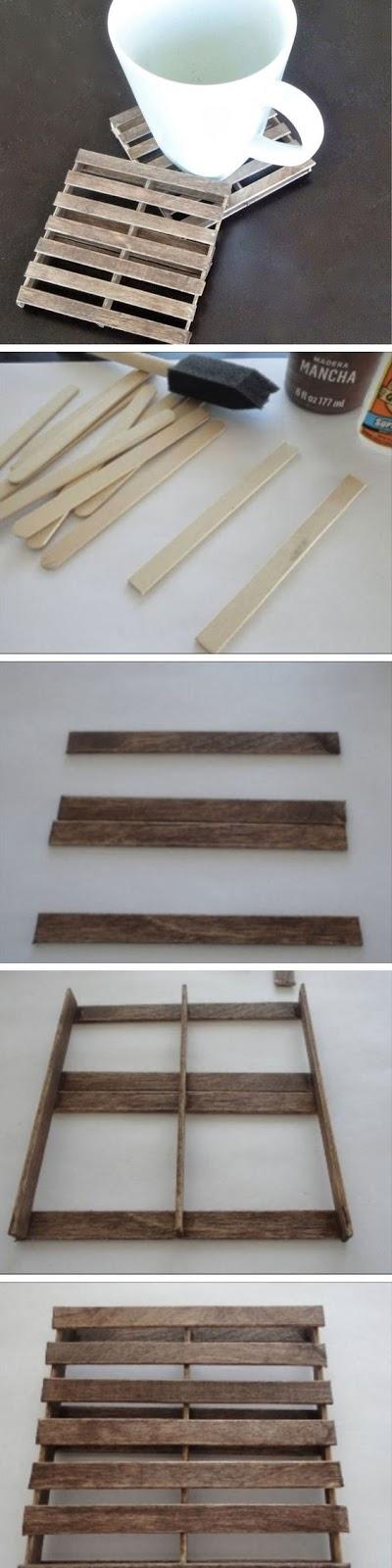 Posavasos con forma de palés DIY