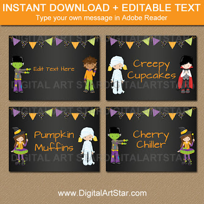 kids halloween chalkboard candy buffet labels