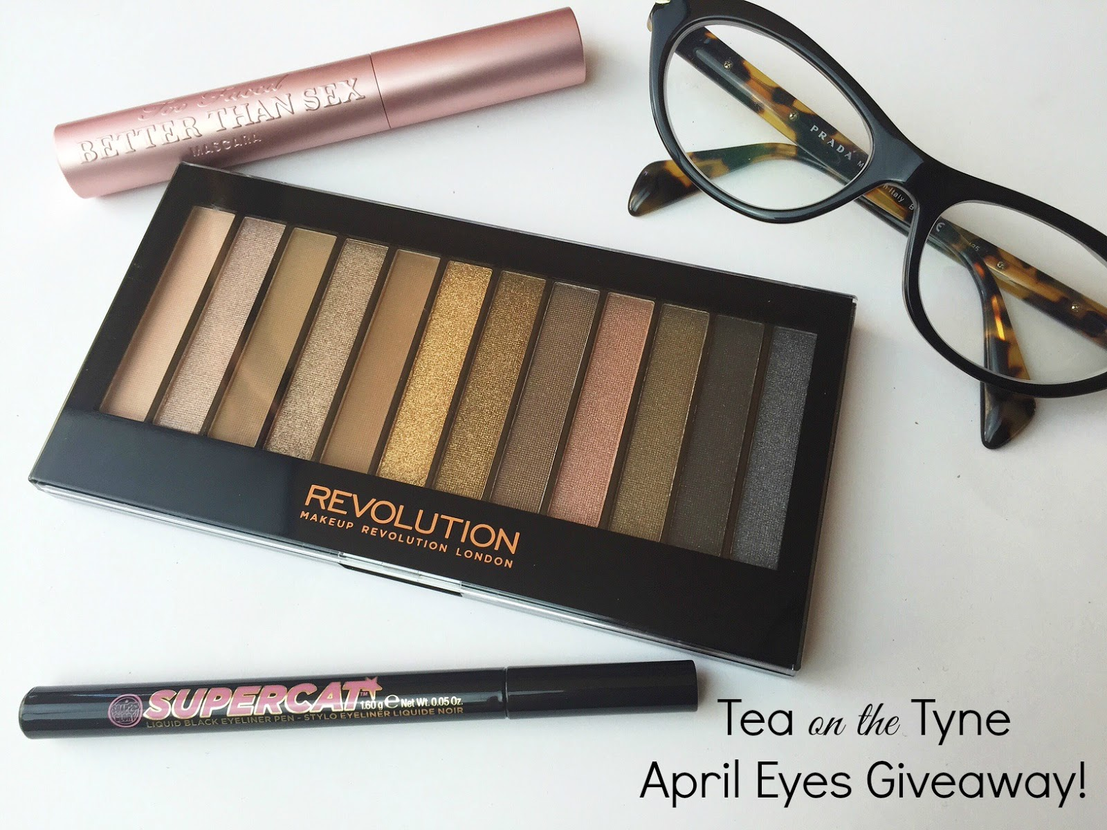 Vegan Beauty Giveaway - Makeup Revolution Redemption Palette Iconic 1, Too Faced Better Than Sex Mascara, Soap & Glory Supercat Eyeliner